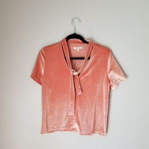 NWT Madewell Velvet Coral Tie At Neck Top Size M